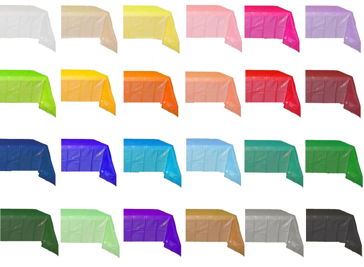 """54""""x108"""" Heavy Duty Plastic Table Covers Disposable Party Ta"""