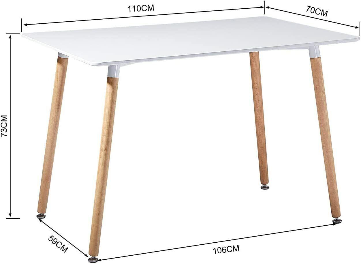 Essgruppe mit 4 Esszimmerstühle für Esszimmer Küche,Weiß Esstisch und Stühle