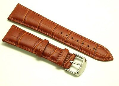 (23mm Brown Croco Embossed Leather Watch Band Polishing Buckle With 2 Spring Bar )