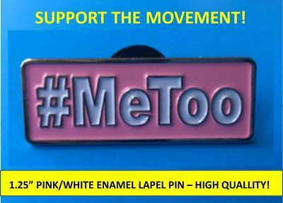 """#METOO PINK/WHITE ENAMEL PIN 1.25"""" – ME TOO EQUAL RIGHTS MOVEMENT - QUALITY PIN"""