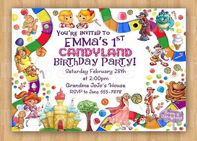 10 Candyland Candy Land Game Girl Boy Theme Birthday Party Invitations Unique - Candyland Party Theme