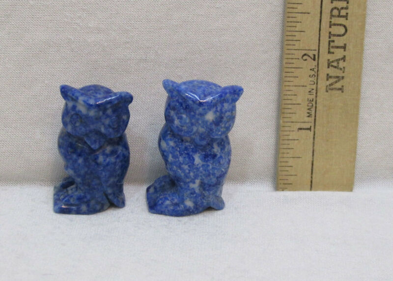 Lapis Lazuli Stone Owl Figurines Pair Blue Rock Carved Figure Bird Set 2