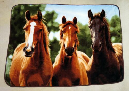 "Huge Heavyweight 52""x72"" Three Horses Soft Throw Blanket Nice Quality!"