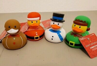Christmas Rubber Duckies (4- RUBBER DUCKS DUCKY Duckies  Christmas Holiday Theme kids bath pool)