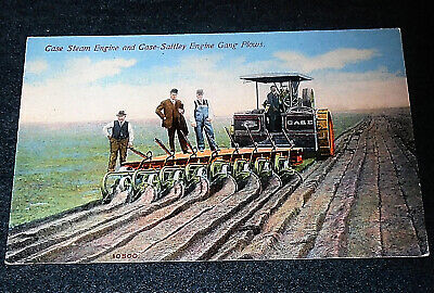 Case Steam Engine Tractor & Case Sattley Plow Vintage Advertising Postcard