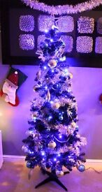 6ft black slim b&q Christmas tree and decorations