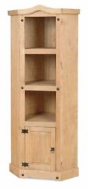 New SOLID Corona Mexican Pine 6ft Corner display bookcase IN STOCK NOW