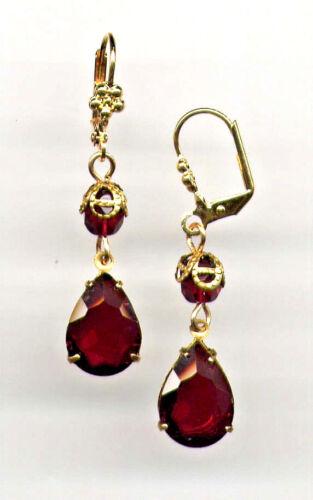 BOHEMIAN GARNET TEARDROP crystal Earrings 14K Gold gp Art Deco Drop *Vtg Czech
