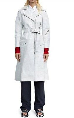 New! Retail $2,350 Acne Studios Seven White Leather Trench Coat (Size: 34IT/2US)