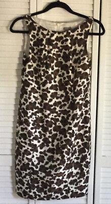 Ann Taylor Animal Print Sleeveless Lined Silk Sheath Dress Size 2P