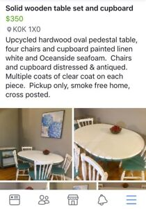 Solid hardwood table set and cupboard
