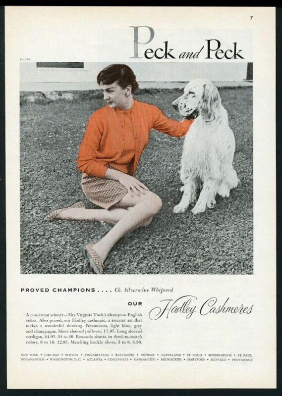 1954 English Setter champion dog photo Peck & Peck sweater vintage print ad