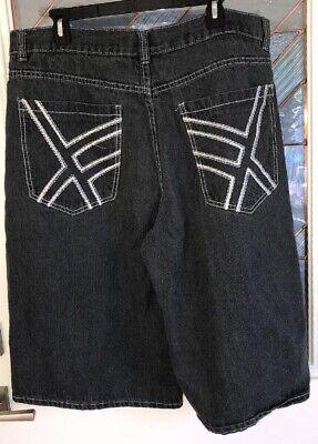 Rave Shorts Mens (Chams Mens Size 40W Jean Shorts Black Wash Denim Stitched Back Pockets)