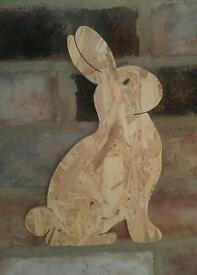 Wooden Rabbit wall plaque / wall are