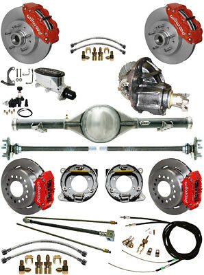 NEW WILWOOD BRAKE & CURRIE REAR END SET,POSI GEAR,LINES,CABLES,60-62 C10,C15,RED