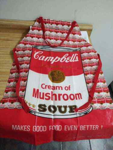 Vintage Campbell soup apron; 1983 vinyl and cloth