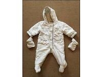 Warm, baby pramsuit with detachable mittens (3-6 month) - £2.00