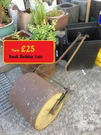 Old Vintage Metal & Concrete Garden Lawn Roller 2 Types Available
