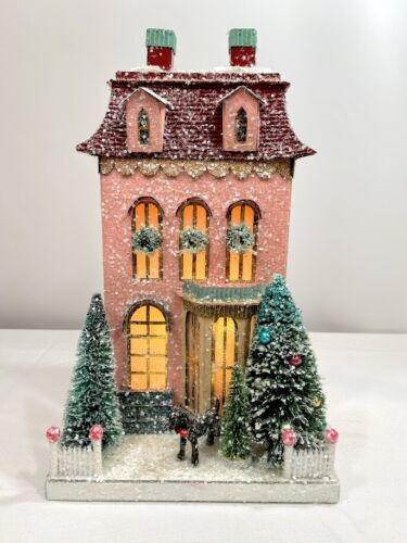 Cody Foster Christmas Light Up House, Putz House, Glitter House; Pink Chateau