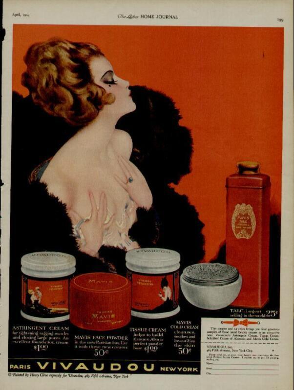 1924 MAVIS VIVAUDOU BEAUTY AD / ~RARE~  BY ARTISTS: HENRY CLIVE