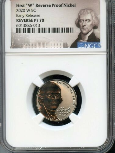 "2020 W First ""W"" Reverse Proof Nickel Early Releases NGC PF70 Portrait Label"