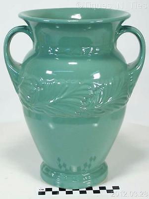 """Vintage Large 9-3/4"""" Abingdon Vase #117  Green Glaze Acanthus Leaf Design (EE)"""
