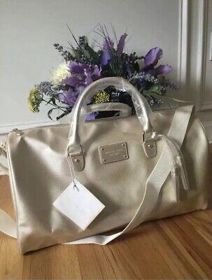 MICHAEL KORS gold metallic tote bag shoulder duffle canvas travel gym Handbag