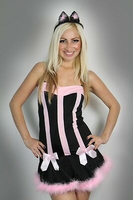 Halloween Womens Lingerie Black Pink Pussy cat Fancy Dress Costume Clubwear - Pussy Costume