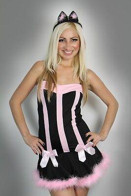Halloween Womens Lingerie Black Pink Pussy cat Fancy Dress Costume Clubwear - Pussy Costume