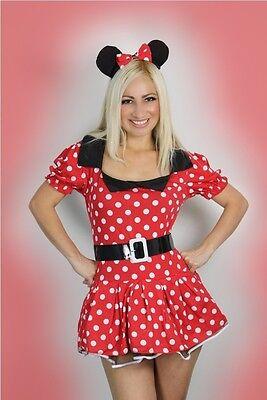 Sexy Damen Halloween Miss Minnie Maus Mini Kostüm Verkleidung 8-16