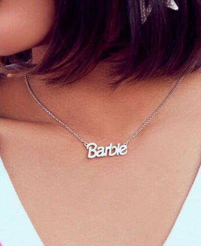 womens silver barbie logo pendant chain necklace