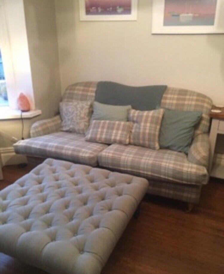 Green Cream Checked Sofa