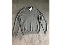 Gents POLO RALPH LAUREN Grey Pima Cotton Jumper - Medium. BNWT