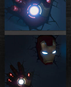 3d deco led night light iron man 3 mask helmet 3d hand wall mounted design new. Black Bedroom Furniture Sets. Home Design Ideas