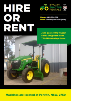 John Deere Laser Grader tractor Hire / Rental