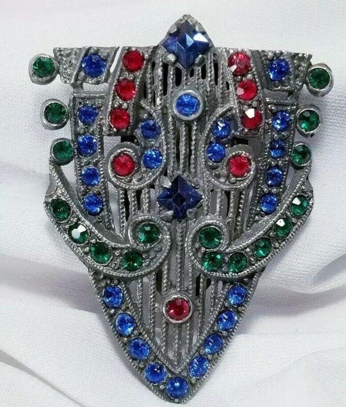 Vintage Art Deco Multi Colored Rhinestone Ladies Dress Clip