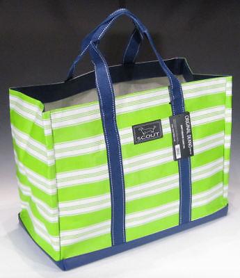 SCOUT Original Deano Tote Bag Shopper - Stripe Tease (Lime Green White Blue)