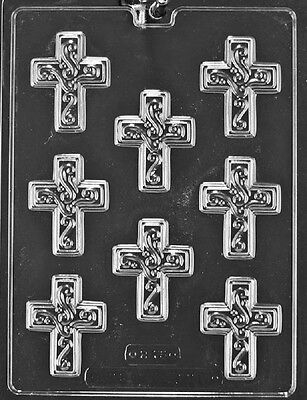 R075 Cross with Swirl Chocolate Candy Soap Mold with Instructions ](Candy Cross)