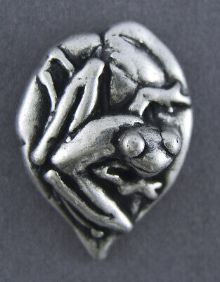 METAL BUTTON SET - ANTIQUE SILVER -  FROG IMAGE