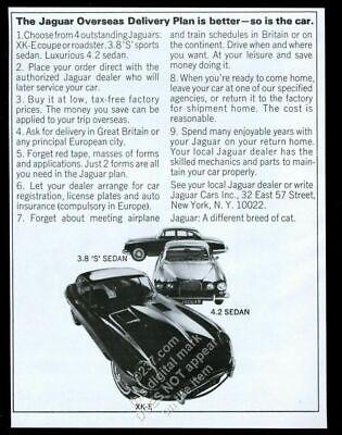 1966 Jaguar XKE XK-E coupe 3.8 4.2 car photo vintage print ad