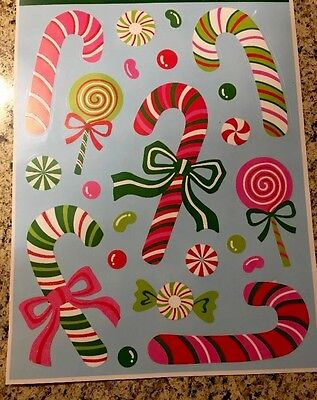 Peppermint Candy Canes Window Clings Glittered Sugar Coated Xmas Stickers Tree