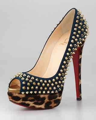 Authentic Rare Christian Louboutin Lady Spiked Leopard-Print Shoes High Heels