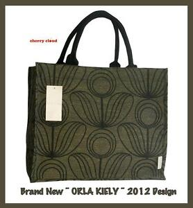 ORLA KIELY LARGE FLOWER DESIGN ~ SHOPPER SHOPPING TOTE BAG ~ BEACH ~ BROWN BLACK