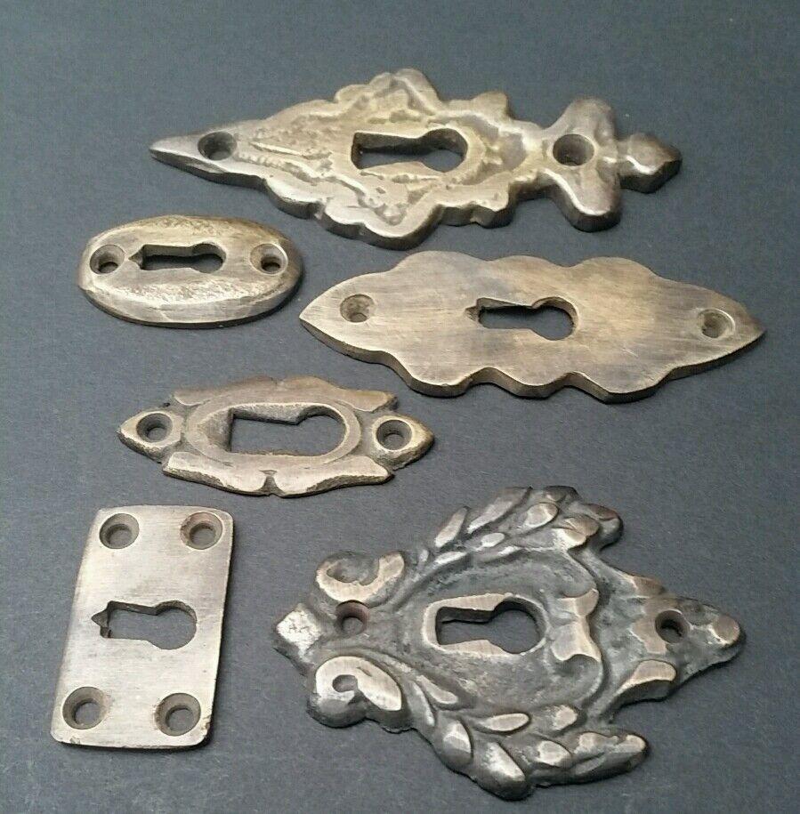 6 various antique style escutcheon key hole covers ornate 1 3 solid brass e picclick - Antique peephole ...