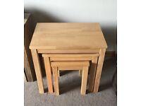 Oak effect nest of tables