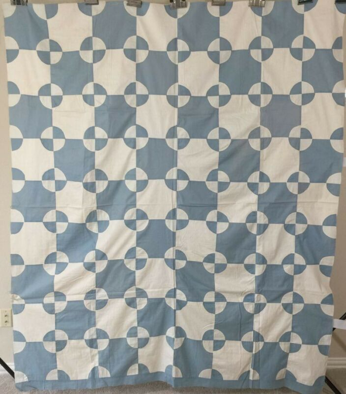 Antique Quilt Top Robbing Peter to Pay Paul.C 1930 Blue/white