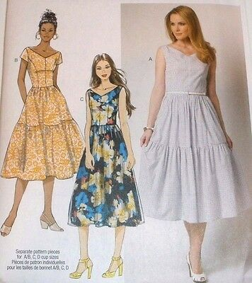 Butterick Sewing Pattern 6203 Misses Dress Tiered Gathered Skirt Sz 14-22 UC