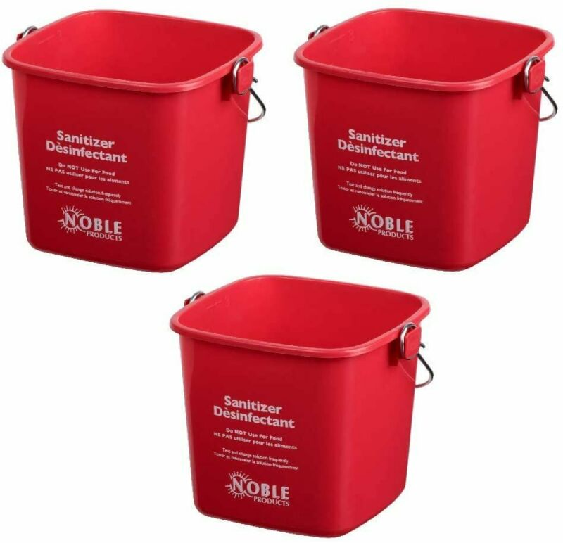Red Small Sanitizing Buckets for Cleaning -3 Quart Sanitizing Cleaning Pail -...