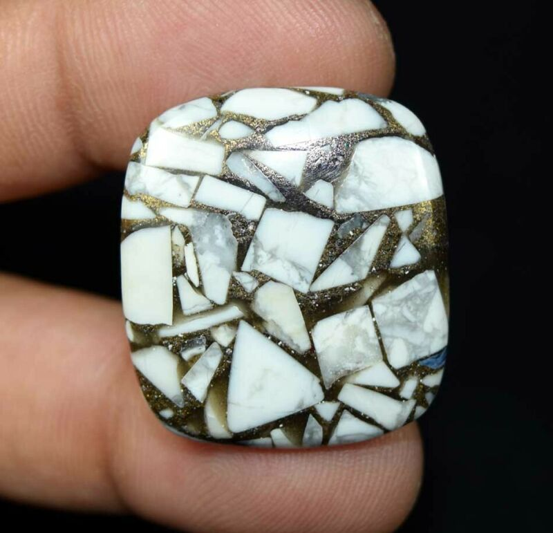 30.55 Cts. Reconstructed Copper White Howlite Cushion Cabochon Loose Gemstone