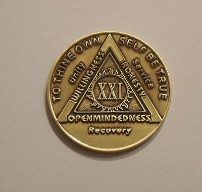-Sober-Sobriety-Birthday-Medallion-Chip-Challenge Alcoholics Anonymous 42 Year Antique Bronze AA